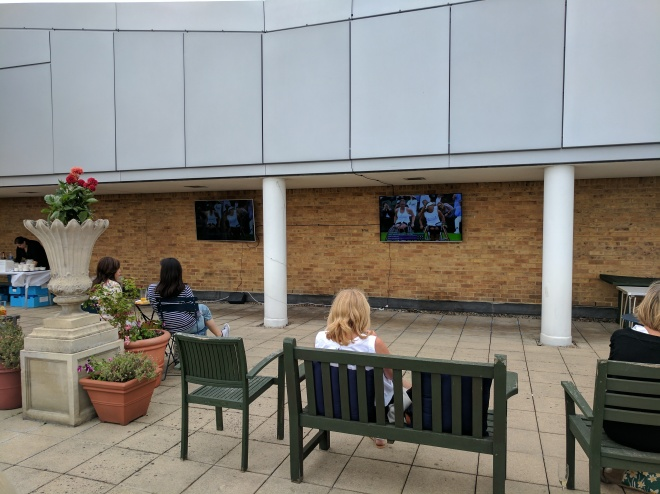 John Lewis card holder event at Kingston upon Thames - watching the Wimbledon final on the rooptop terrace